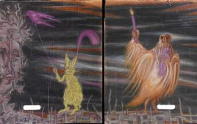 Family at midnight (diptych)